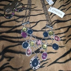 Chico's Necklace with matching hoop earrings
